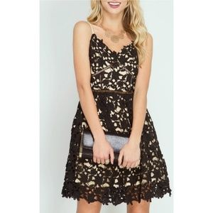 She and Sky Black Lace Formal Prom Dress Size M